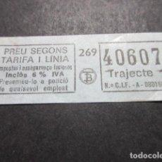 Coleccionismo Billetes de transporte: 2 BILLETES EMPRESA TB TRANSPORTES BARCELONA TRAYECTO COLOR AZUL. Lote 110912635