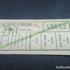 Coleccionismo Billetes de transporte: BILLETE LOS TRANVAS DE BARCELONA - VER TRAYECTOS DIFERENTES - LEER INTERIOR REF: ARD-004. Lote 111479971