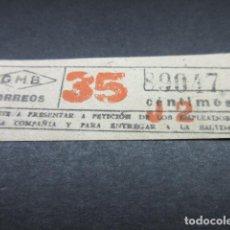 Coleccionismo Billetes de transporte: BILLETE GRAN METROPOLITANO BARCELONA METRO - CORREOS - LEER INTERIOR REF: ARD-004. Lote 111485715