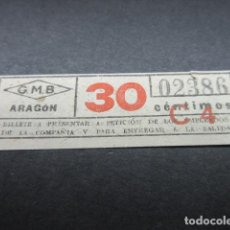 Collectionnisme Billets de transport: BILLETE GRAN METROPOLITANO BARCELONA METRO - ARAGON - LEER INTERIOR REF: ARD-004. Lote 111486115