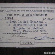 Coleccionismo Billetes de transporte: BILLETE LIBRE CIRCULACION - FERROCARRILES ESPAÑOLES - AÑO 1950 - VER FOTOS - (V-13.380). Lote 111626275