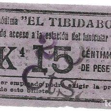 Coleccionismo Billetes de transporte: BILLETE DEL TRANVIA DEL TIBIDABO VALOR 20 CTS.. Lote 112439891