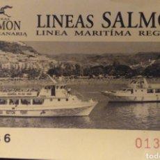 Coleccionismo Billetes de transporte: BILLETE BARCO LÍNEAS SALMON. Lote 112442712