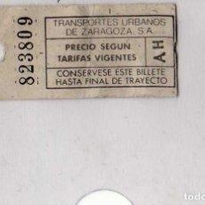 Coleccionismo Billetes de transporte: TRANSPORTES URBANOS DE ZARAGOZA. Lote 113708843