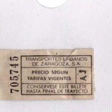 Coleccionismo Billetes de transporte: TRANSPORTES URBANOS DE ZARAGOZA. Lote 113709027
