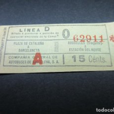 Collectionnisme Billets de transport: BILLETE COMPAÑIA GENERAL DE AUTOBUSES C. G. A. DE BARCELONA - LEE NOTA INTERIOR - ARD-008. Lote 114726767
