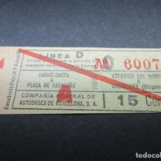 Collectionnisme Billets de transport: BILLETE COMPAÑIA GENERAL DE AUTOBUSES C. G. A. DE BARCELONA - LEE NOTA INTERIOR - ARD-008. Lote 114726799