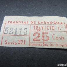 Coleccionismo Billetes de transporte: BILLETE EMPRESA TRANVIAS DE ZARAGOZA. Lote 114731671