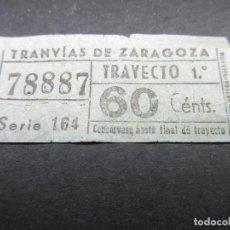 Coleccionismo Billetes de transporte: BILLETE EMPRESA TRANVIAS DE ZARAGOZA CAPICUA CAPICUAS. Lote 114731703