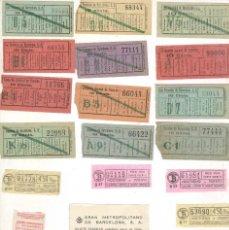 Coleccionismo Billetes de transporte: TRANVIAS DE BARCELONA LOTE DE 18 BILLETES DE TRANVIA ANTIGUOS. 3 RUSOS. Lote 115184759