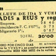 Coleccionismo Billetes de transporte: BILLETE DE 'LA HISPANIA' // PRADES - REUS // 1950 // U37. Lote 115339743