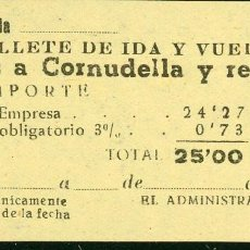 Coleccionismo Billetes de transporte: BILLETE DE 'LA HISPANIA' // REUS - CORNUDELLA // 1950 // U37. Lote 115339811