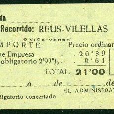 Coleccionismo Billetes de transporte: BILLETE DE 'LA HISPANIA' // REUS - VILELLAS // 1950 // U37. Lote 115339887