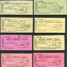Coleccionismo Billetes de transporte: (L293) 8 BILLETES DE 'LA HISPANIA' // REUS, VILELLAS, PRADES, CORNUDELLA, ULLDEMOLINS // 1950 // U37. Lote 115339991