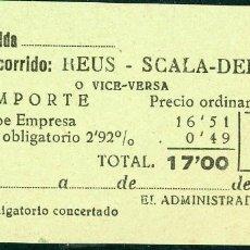 Coleccionismo Billetes de transporte: BILLETE DE 'LA HISPANIA' // REUS - SCALA DEI // 1950 // U37. Lote 115340059