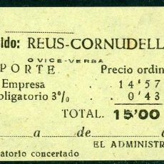 Coleccionismo Billetes de transporte: BILLETE DE 'LA HISPANIA' // REUS - CORNUDELLA // 1950 // U37. Lote 115340083