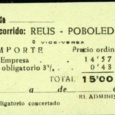 Coleccionismo Billetes de transporte: BILLETE DE 'LA HISPANIA' // REUS - POBOLEDA // 1950 // U37. Lote 115340103