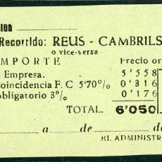 Coleccionismo Billetes de transporte: BILLETE DE 'LA HISPANIA' // REUS - CAMBRILS // 1950 // U37. Lote 115340111