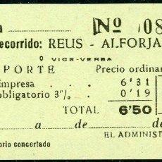 Coleccionismo Billetes de transporte: BILLETE DE 'LA HISPANIA' // REUS - ALFORJA // 1950 // U37. Lote 115340143