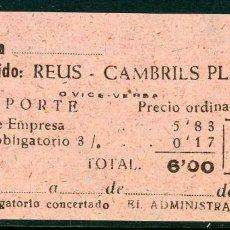 Coleccionismo Billetes de transporte: BILLETE DE 'LA HISPANIA' // REUS - CAMBRILS PLAYA // 1950 // U37. Lote 115340163