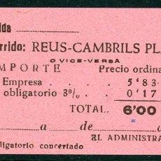 Coleccionismo Billetes de transporte: BILLETE DE 'LA HISPANIA' // REUS - CAMBRILS PLAYA // 1950 // U37. Lote 115340167