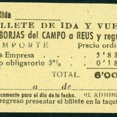 Coleccionismo Billetes de transporte: BILLETE DE 'LA HISPANIA' // BORJAS DEL CAMPO - REUS // 1950 // U37. Lote 115340211