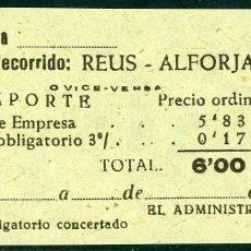 Coleccionismo Billetes de transporte: BILLETE DE 'LA HISPANIA' // REUS - ALFORJA // 1950 // U37. Lote 115340259