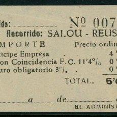 Coleccionismo Billetes de transporte: BILLETE DE 'LA HISPANIA' // SALOU - REUS // 1950 // U37. Lote 115340283
