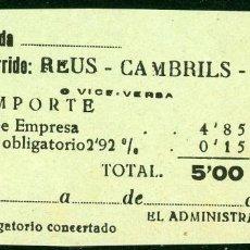 Coleccionismo Billetes de transporte: BILLETES DE 'LA HISPANIA' // REUS - CAMBRILS PLAYA // 1950 // U37. Lote 115340387