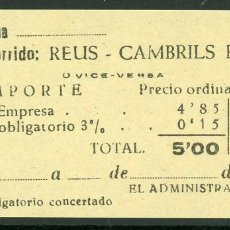 Coleccionismo Billetes de transporte: BILLETES DE 'LA HISPANIA' // REUS - CAMBRILS PLAYA // 1950 // U37. Lote 115340423
