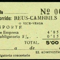 Coleccionismo Billetes de transporte: BILLETES DE 'LA HISPANIA' // REUS - CAMBRILS PLAYA // 1950 // U37. Lote 115340443