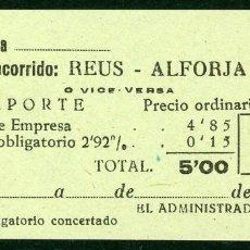 Coleccionismo Billetes de transporte: BILLETES DE 'LA HISPANIA' // REUS - ALFORJA // 1950 // U37. Lote 115340479
