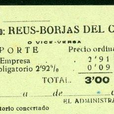 Coleccionismo Billetes de transporte: BILLETES DE 'LA HISPANIA' // REUS - BORJAS DEL CAMPO // 1950 // U37. Lote 115340503