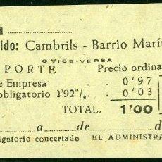Coleccionismo Billetes de transporte: BILLETES DE 'LA HISPANIA' // CAMBRILS - BARRIO MARITIMO // 1950 // U37. Lote 115340563