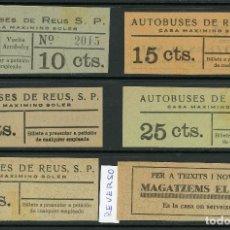 Coleccionismo Billetes de transporte: (L295) 5 BILLETES DE AUTOBUSOS REUS , CASA MAXIMINO SOLER // T-37. Lote 115341199