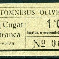 Coleccionismo Billetes de transporte: BILLETE DE AUTOMNIBUS OLIVELLA // SAN CUGAT - VILAFRANCA // Z7. Lote 115377915