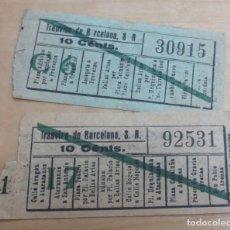 Coleccionismo Billetes de transporte: LOTE DE 2 BILLETES TRANVÍAS DE BARCELONA. Lote 115488087