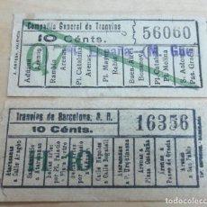 Coleccionismo Billetes de transporte: LOTE DE 2 BILLETES TRANVÍAS DE BARCELONA. Lote 115488219