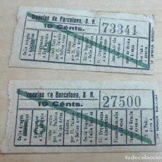 Coleccionismo Billetes de transporte: LOTE DE 2 BILLETES TRANVÍAS DE BARCELONA. Lote 115488291