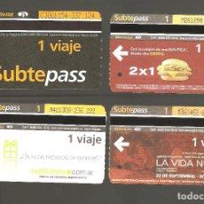 Coleccionismo Billetes de transporte: 4 BILLETES DE METRO ARGENTINA BUENOS AIRES 002. Lote 115925743