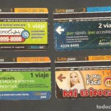 Coleccionismo Billetes de transporte: 4 BILLETES DE METRO ARGENTINA BUENOS AIRES 010. Lote 115927451