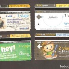 Coleccionismo Billetes de transporte: 4 BILLETES DE METRO ARGENTINA BUENOS AIRES 034. Lote 116047699