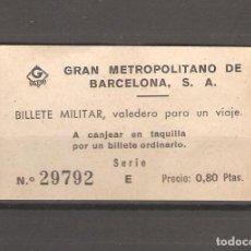 Coleccionismo Billetes de transporte: 1 BILLETE MILITAR CAPICUA BARCELONA 082. Lote 116083519