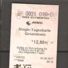 Coleccionismo Billetes de transporte: 1 BILLETE DE TRANSPORTE ALEMANIA MUENICH 110. Lote 116090367