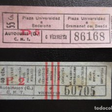 Coleccionismo Billetes de transporte: LOTE 2 BILLETES CAPICUA CAPICAS GUERRA CIVIL CNT AUTOBUSES G BARCELONA C.N.T. - REFERENCIA ARD-X-100. Lote 116249307