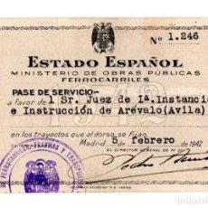 Coleccionismo Billetes de transporte: MINISTERIO DE OBRAS PÚBLICAS FERROCARRILES.- PASE DE SERVICIO.- ARÉVALO. ÁVILA - 1942. Lote 116646691