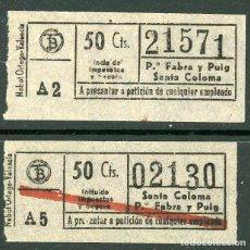 Coleccionismo Billetes de transporte: (F24//5) BILLETE/S DE TRANVIAS DE BARCELONA / AÑOS 40 - 60 / TIPO 23 / A12. Lote 221608461