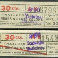 Coleccionismo Billetes de transporte: (F24//7) BILLETE/S DE TRANVIAS DE BARCELONA / AÑOS 40 / TIPO 36 / A18C. Lote 221607595
