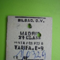 Coleccionismo Billetes de transporte: ANTIGUO BILLETE DE TREN BILBAO-MADRID. Lote 117286955