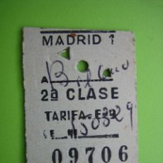 Coleccionismo Billetes de transporte: ANTIGUO BILLETE DE TREN MADRID-BILBAO. Lote 117287215